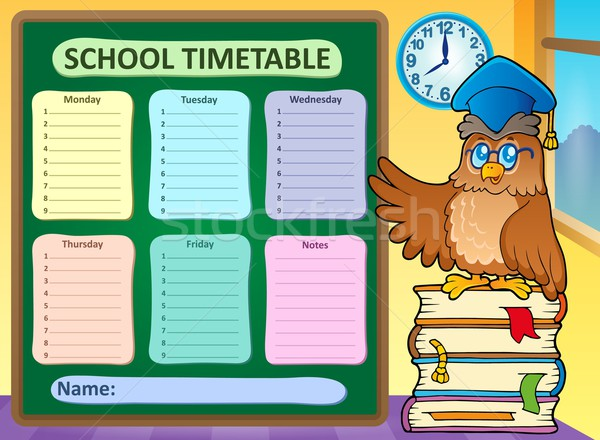 Hebdomadaire école calendrier livre livres oiseau Photo stock © clairev