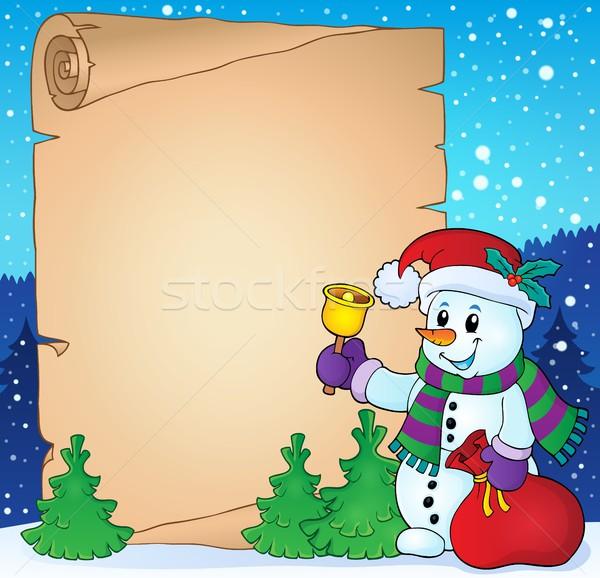 Pergamino Navidad muñeco de nieve nieve bolsa regalo Foto stock © clairev