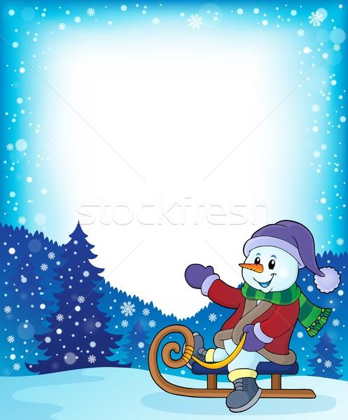 Snowman on sledge theme image 4 Stock photo © clairev