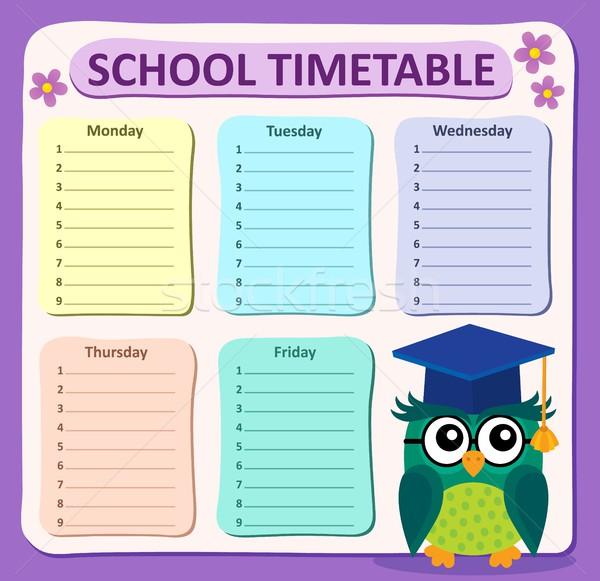Heti iskola időbeosztás művészet madár asztal Stock fotó © clairev