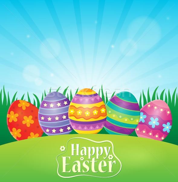 Kellemes húsvétot díszített tojások fű boldog terv Stock fotó © clairev