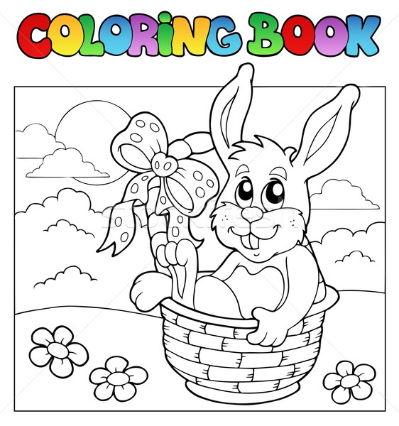 Coloring book with bunny in basket Stock photo © clairev
