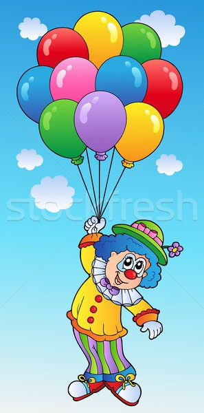 Flying clown with cartoon balloons Stock photo © clairev