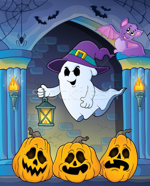 Ghost with hat and lantern theme 7 Stock photo © clairev