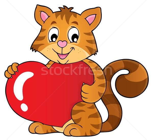 Valentin nap macska téma kép boldog művészet Stock fotó © clairev
