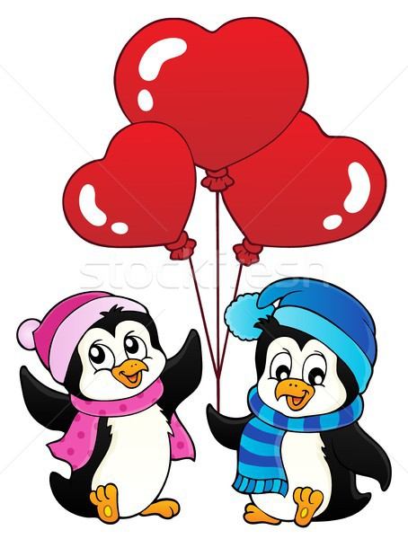Valentin nap madarak állatok kalap állat rajz Stock fotó © clairev
