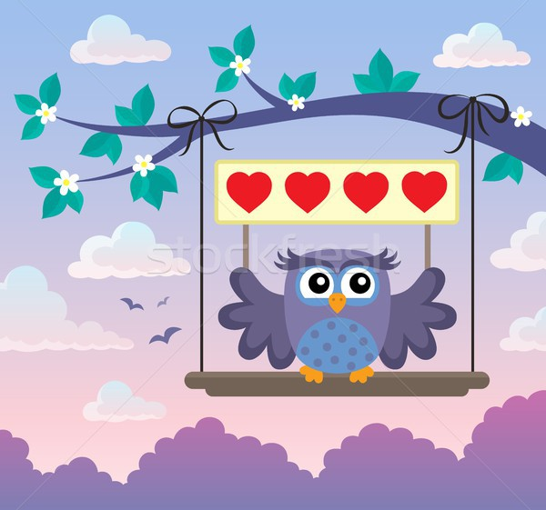 Валентин совы тема изображение лист знак Сток-фото © clairev