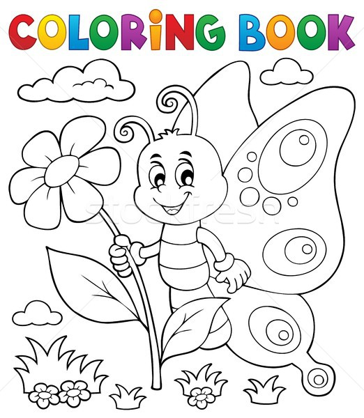 Coloring book happy butterfly topic 4 Stock photo © clairev