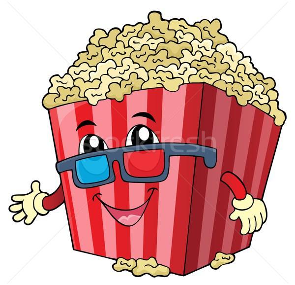 стилизованный попкорн изображение счастливым искусства очки Сток-фото © clairev
