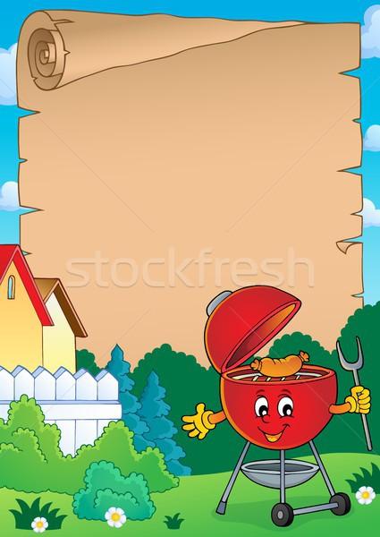 Barbeque pergamen tavasz kéz arc boldog Stock fotó © clairev