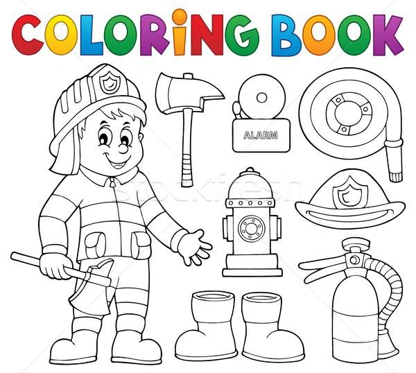 Kolorowanka strażak zestaw sztuki pomoc usługi Zdjęcia stock © clairev