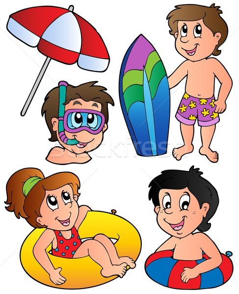 Swimming kids collection Stock photo © clairev