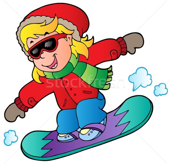 Cartoon девушки сноуборд ребенка дизайна искусства Сток-фото © clairev
