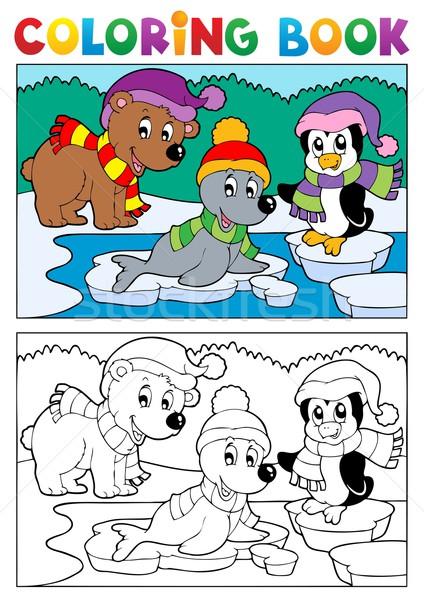 Libro para colorear invierno tema sonrisa libro pintura Foto stock © clairev