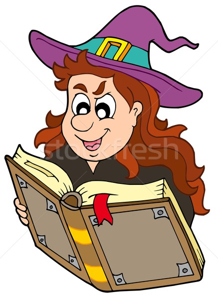 Wizard girl reading magic book Stock photo © clairev