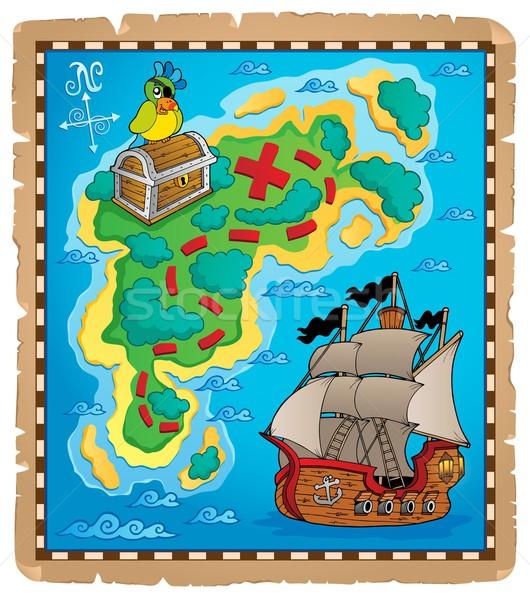 Карта сокровищ тема изображение бумаги океана Parrot Сток-фото © clairev
