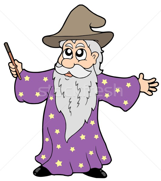 Wizard with magic wand Stock photo © clairev