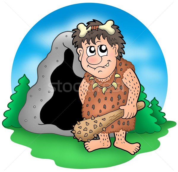 Cartoon prehistoric man before cave Stock photo © clairev