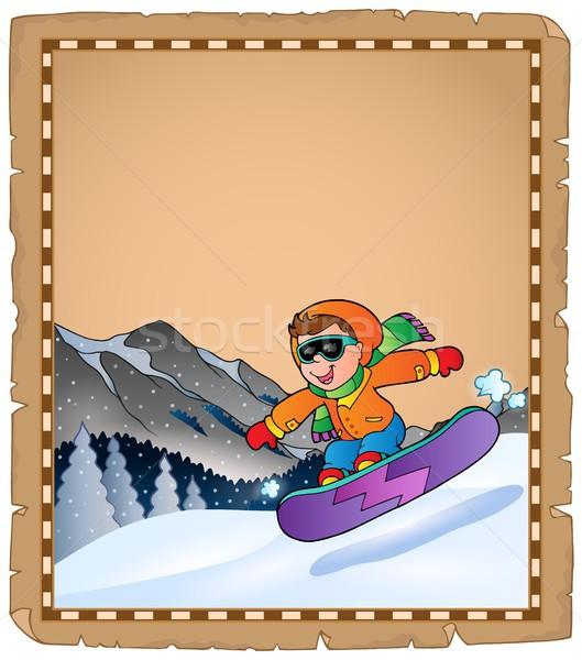 Perkament wintersport glimlach sneeuw berg kunst Stockfoto © clairev