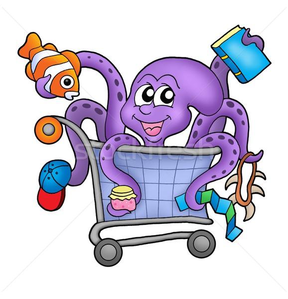 Polvo carrinho de compras cor ilustração carro sorrir Foto stock © clairev