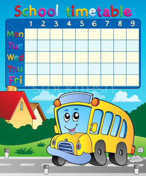 School dienstregeling glimlach kunst tabel leren Stockfoto © clairev