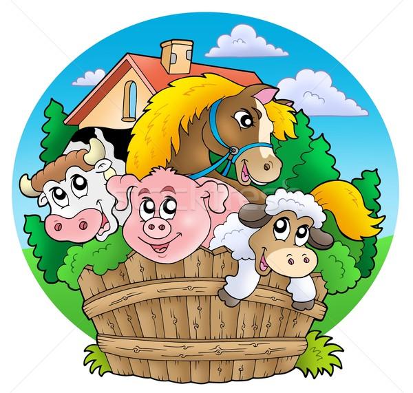Stockfoto: Groep · land · dieren · kleur · illustratie · gebouw