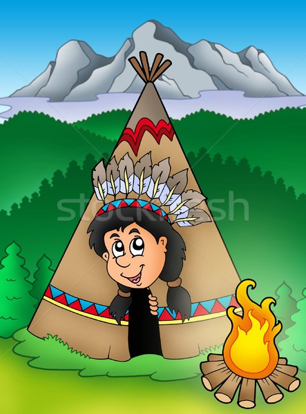 Native American Indian in tepee Stock photo © clairev