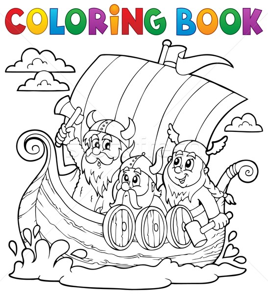 Coloring book with Viking ship Stock photo © clairev