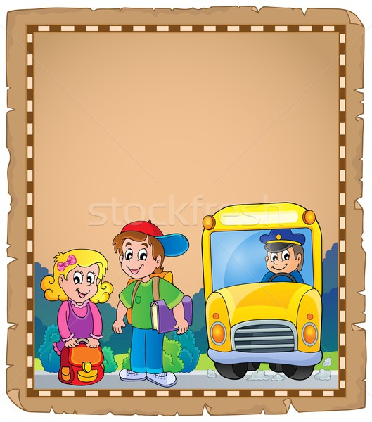 Parşömen okul otobüsü gülümseme çocuklar kitap adam Stok fotoğraf © clairev