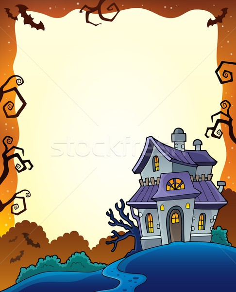 Halloween frame with haunted house 1 Stock photo © clairev