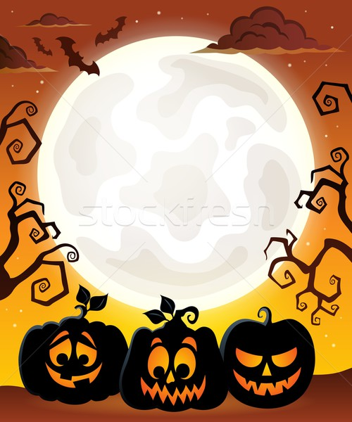 Moon with Halloween pumpkin silhouettes Stock photo © clairev