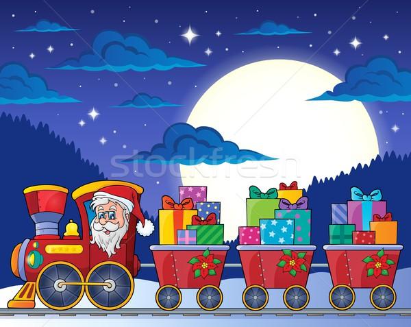 Photo stock: Noël · train · image · ciel · visage · lune