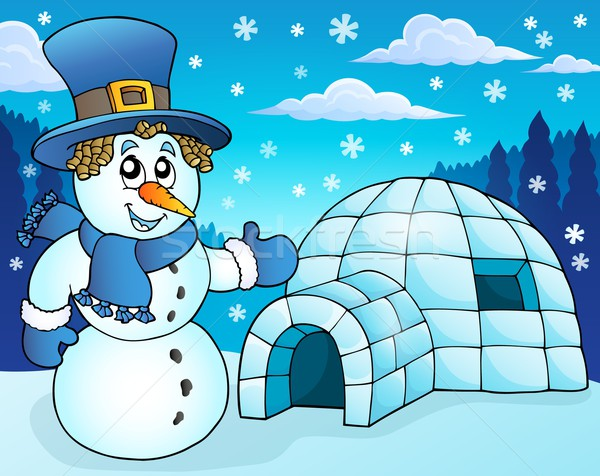 Igloo with snowman theme 3 Stock photo © clairev