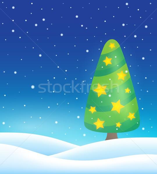 стилизованный рождественская елка тема изображение дерево искусства Сток-фото © clairev