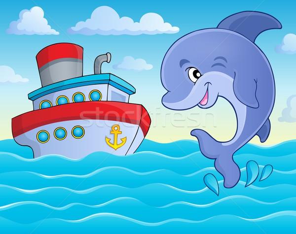 Skoki Delfin obraz uśmiech sztuki ocean Zdjęcia stock © clairev