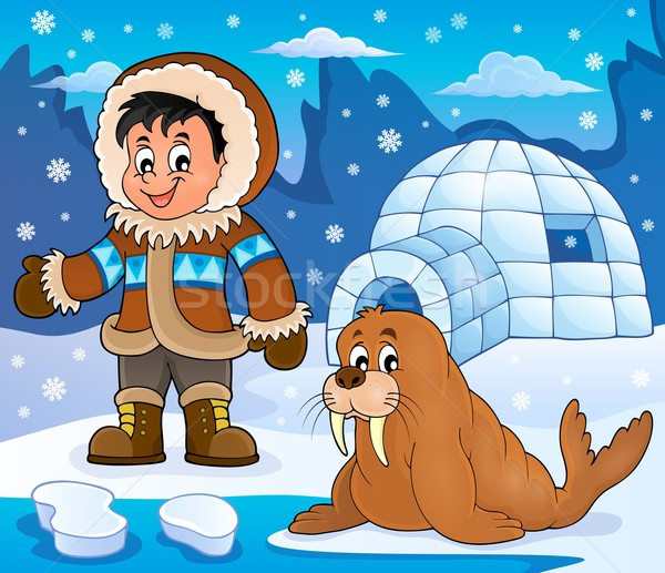 Арктика изображение улыбка снега искусства мальчика Сток-фото © clairev