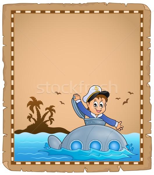 Perkament matroos onderzeeër water metaal palm Stockfoto © clairev