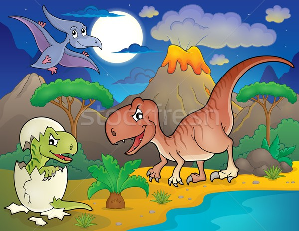 Night landscape with dinosaur theme 2 Stock photo © clairev