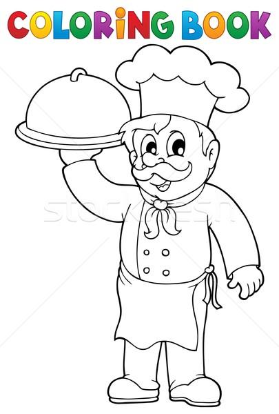 Coloring book chef theme 1 Stock photo © clairev
