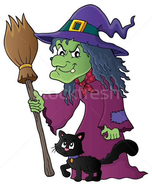 Witch with cat and broom theme image 1 Stock photo © clairev