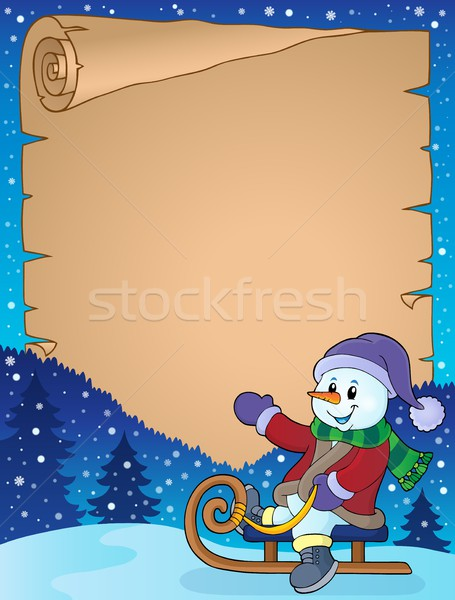 Parchment with snowman on sledge Stock photo © clairev