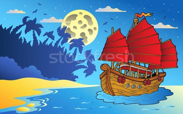 Nacht zeegezicht chinese schip zee kunst Stockfoto © clairev