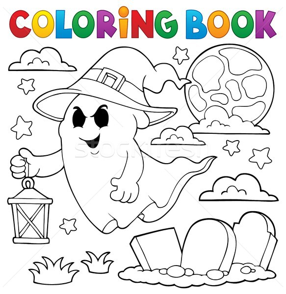 Coloring book ghost with hat and lantern Stock photo © clairev