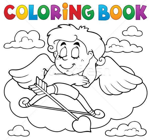 Coloring book Cupid topic 7 Stock photo © clairev