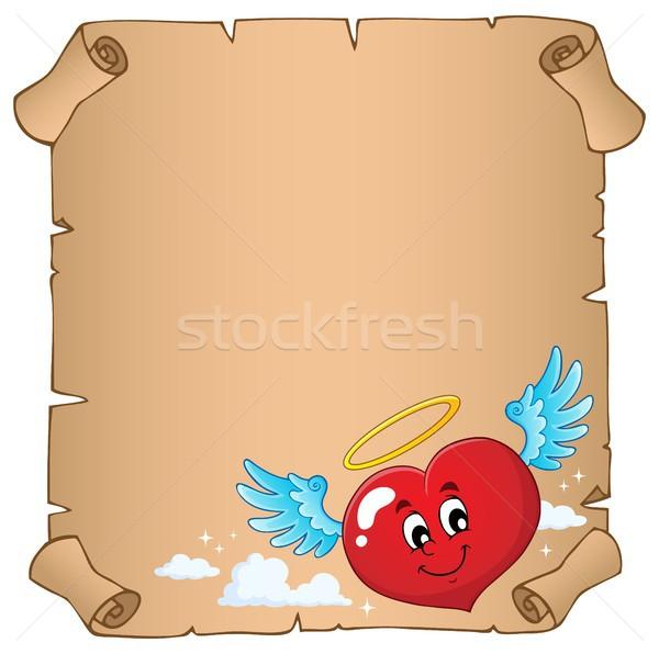 Valentine coração tópico pergaminho papel amor Foto stock © clairev