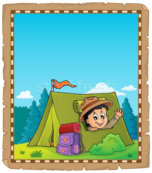 Parchment with scout in tent theme 2 Stock photo © clairev