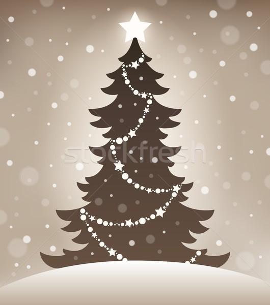стилизованный силуэта рождественская елка зима звездой Рождества Сток-фото © clairev