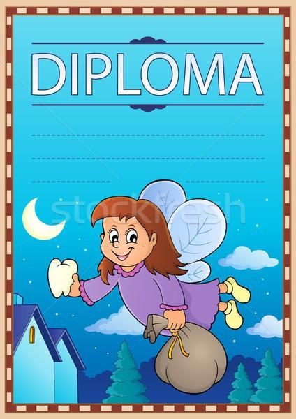 Diploma şablon görüntü gökyüzü kız mutlu Stok fotoğraf © clairev