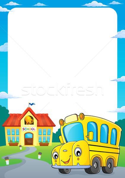 Iskolabusz keret szem arc épület művészet Stock fotó © clairev