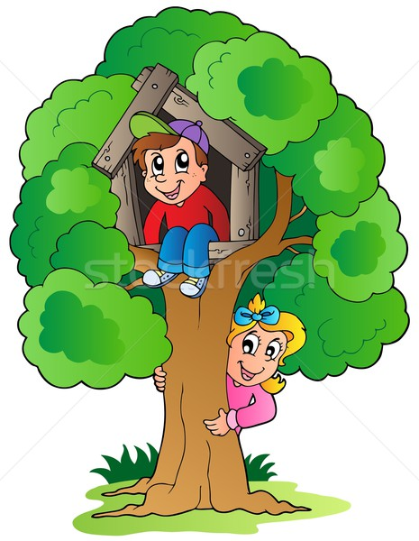 Boom twee cartoon kinderen gelukkig kind Stockfoto © clairev